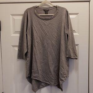 NWT Gray asymmetrical rhinestone sweater 3XL